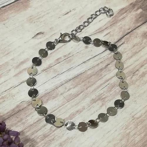 Boho 2pc Silver Moon Black Anklet Beaded Ankle Bracelet