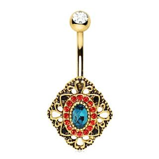 Ornate Gold Rhombus Ruby Sapphire Navel Ring