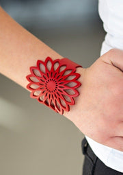 Wildly Wildflower Red Paparazzi Leather Bracelet Bracelets Paparazzi Accessories