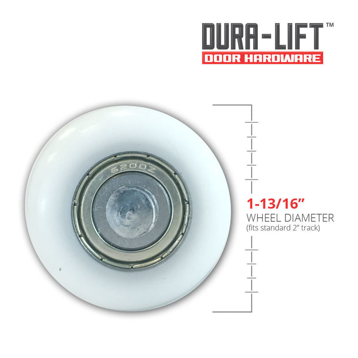 "DURA-LIFT Ultra-Life 2"" Reinforced 6200Z Bearing Nylon Garage Door Roller and 4"" Stem (10-Pack)"