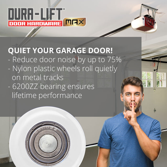 DURA-LIFT Ultra-Life Max 2 in. Nylon Garage Door Roller w/ Sealed 6200ZZ Bearing & 4-in. Stem