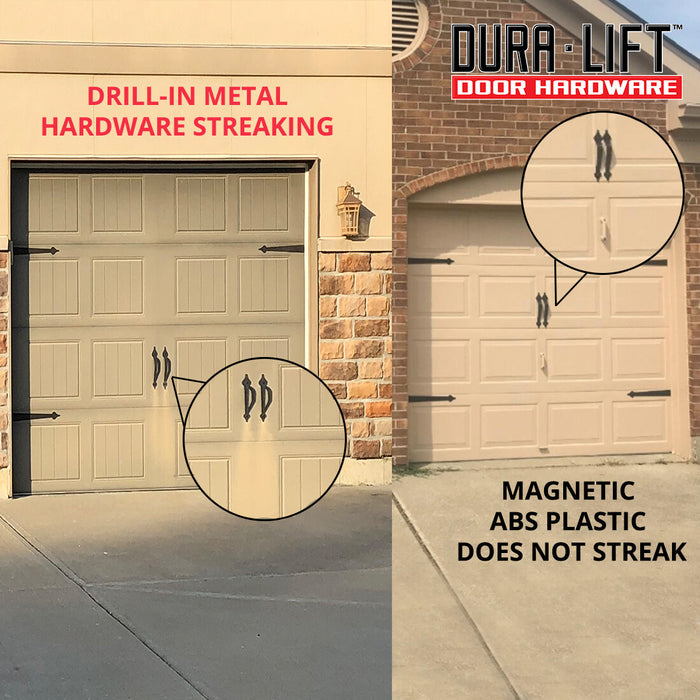 DURA-LIFT Ultra-Life Magnetic Decorative Carriage-Style Garage Door Hardware (4 Hinges, 2 Handles)