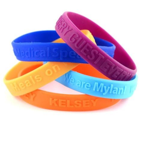 Embossed Silicone Wristbands - Promotions Only Wristbands