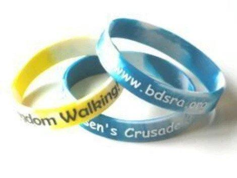 Multi Coloured Embossed Silicone Wristbands with Colour - Promotions Only Wristbands