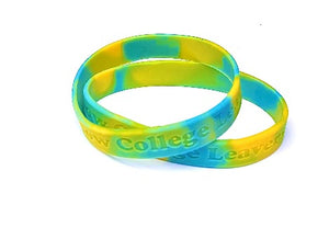 Multi coloured Debossed or Embossed  Silicone - Promotions Only Wristbands