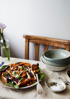 Ginger and garlic roasted sweet potato salad with tahini dressing