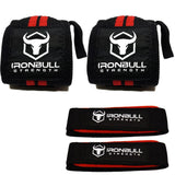 IronBull Strength Wrist Wraps & Lifting Straps Combo Black Red