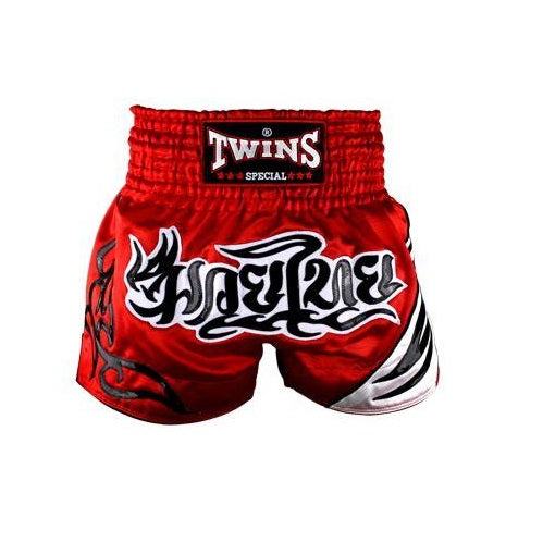 Twins Special T-155 Thai Boxing Shorts Red-Black Tattoo