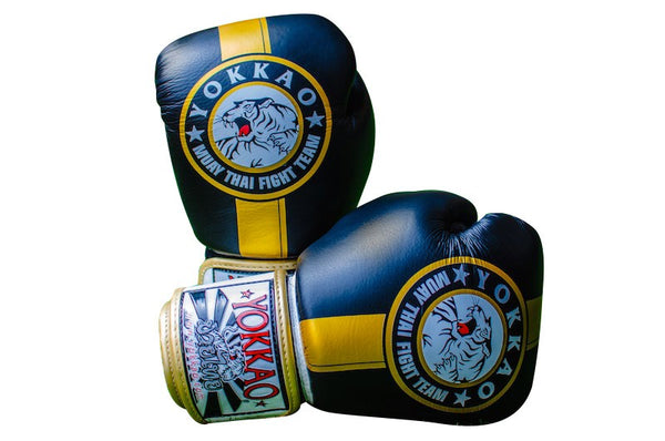 Yokkao Official Fight Team Gold/Black Muay Thai Boxing Gloves