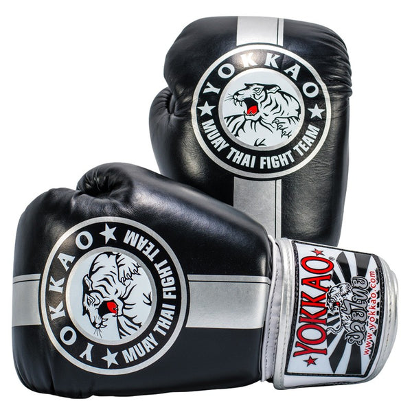 Yokkao Official Fight Team Black/Silver Muay Thai Boxing Gloves