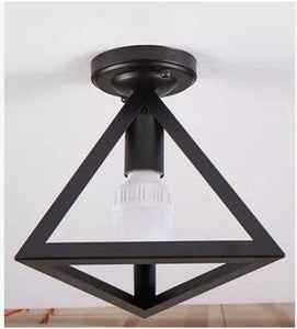 Modern nordic black wrought iron E27 led ceiling lamps