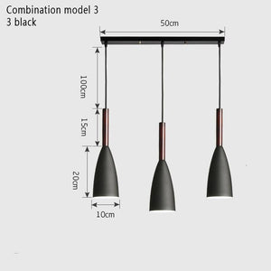 Modern Minimalist  Bar Cafe Restaurant Decor Wood Aluminum Hanging Lamp Lighting Luminaire