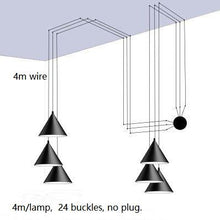 Load image into Gallery viewer, Black Metal Long Wire Cone Shape Pendant Lamp