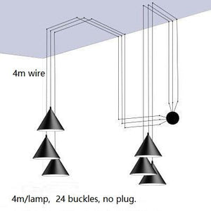 Black Metal Long Wire Cone Shape Pendant Lamp