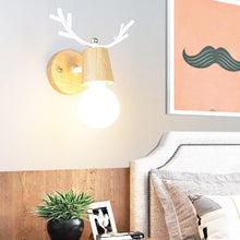 Load image into Gallery viewer, Led indoor wall lamps stair wall lamp fixture nordic macaron antler modern wall light wooden base bedroom E27 bulb wall sconces