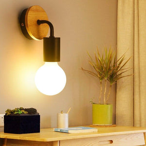 Modern Nordic Wooden Vintage Retro Edison Wall Lamp