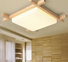 Load image into Gallery viewer, Nordic LED Wooden Ceiling Lights In Square Shape