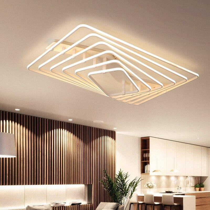 White Square LED remote control dimming ceiling lamp