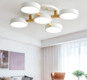 Wooden Modern Gray Round Bedroom Ceiling Lamp