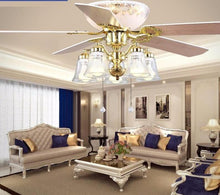 Load image into Gallery viewer, 52 inch Europe Gold Modern LED Wooden Ceiling fans With Lights Remote Control