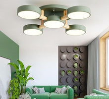 Load image into Gallery viewer, Wooden Modern Gray Round Bedroom Ceiling Lamp