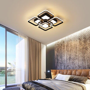 Creative square black and white remote control chandelier
