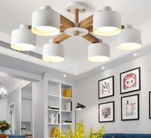 Load image into Gallery viewer, Nordic Modern Wooden White Lustres Wood Foyer Chandelier Lighting