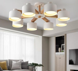 Nordic Modern Wooden White Lustres Wood Foyer Chandelier Lighting