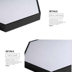 Surface Mount Flush Panel Remote Control Hexagon LED Ceiling Light