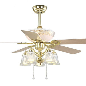 52 inch Europe Gold Modern LED Wooden Ceiling fans With Lights Remote Control