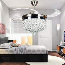 Load image into Gallery viewer, 42 inch Silver Heart-Shaped Crystal LED Invisible Fan Light with Remote Control