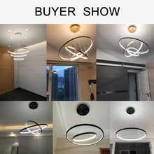Load image into Gallery viewer, Black white frame led pendant lustre indoor lights fixtures