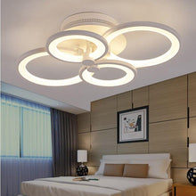 Load image into Gallery viewer, Modern LED rings Ceiling Lamp geometry fixtures Dimmable+Remote control