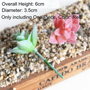 Home Garden Green Purple Red White Blue Flocking Artificial Succulents Plants