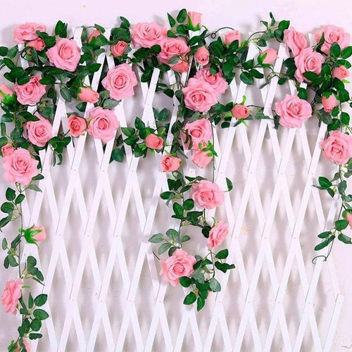 2.4m Silk Artificial Roses Flowers with Green Leaves For Home Wedding Garden Decoration