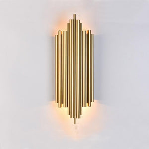 Gold Metal Pipe Body Living room Led Wall Lamp