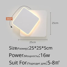 Load image into Gallery viewer, square LED Wall Lamp for Bedroom living room white black sconce wall lights 360 degrees Rotatable Metal 5W/16W fixtures