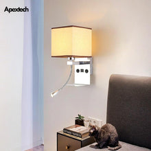 Load image into Gallery viewer, Modern USB Phone Charger Bedside Wall Lamp