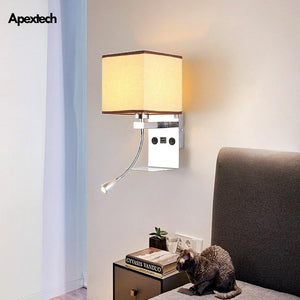 Modern USB Phone Charger Bedside Wall Lamp