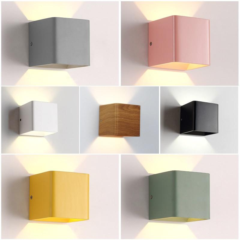 2 pieces/lot Wood Grain 10*10*10cm Led Wall Lamp