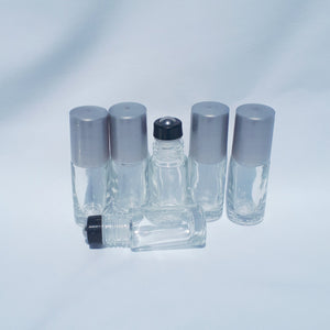5ml Clear Glass Bottle, Glass Roller, Silver Lid. (6 pack)