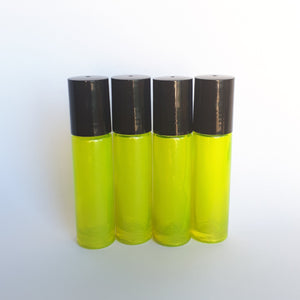 10ml Yellow Roller Bottle with Steel Roller (4pack)