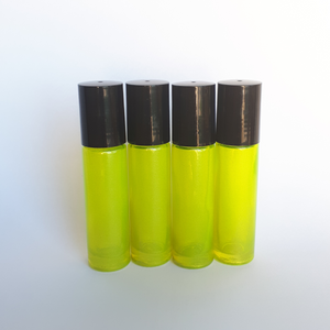 10ml Yellow Roller Bottle with Plastic Roller (4pack)