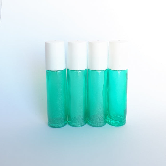 10ml Green Shimmer Roller Bottle with Steel Roller. (4 pack)