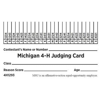 Michigan 4-H Judging Cards - Blue - shop.msu.edu