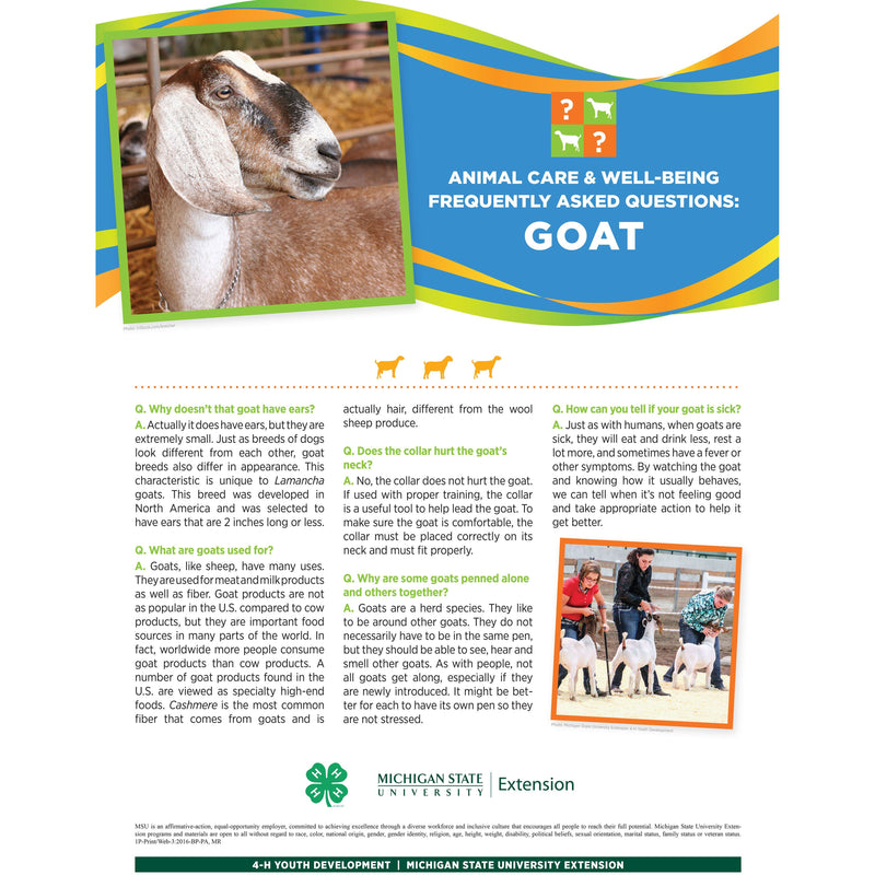 4-H Animal Care & Well-Being Poster – Goat - shop.msu.edu