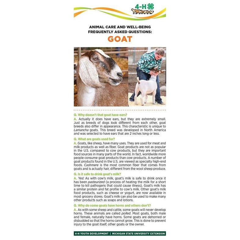4-H Animal Care & Well-Being Bookmarks – Goat - shop.msu.edu