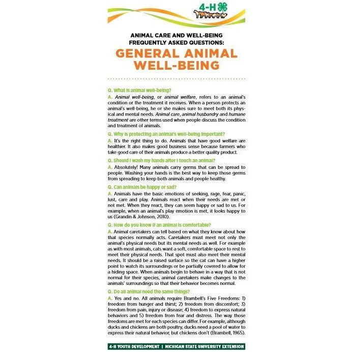 4-H Animal Care & Well-Being Bookmarks - General Animal Well-Being - shop.msu.edu