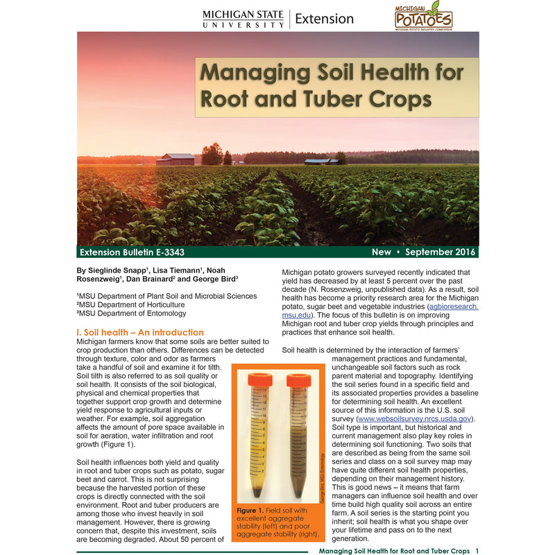 Managing Soil Health for Root and Tuber Crops - shop.msu.edu