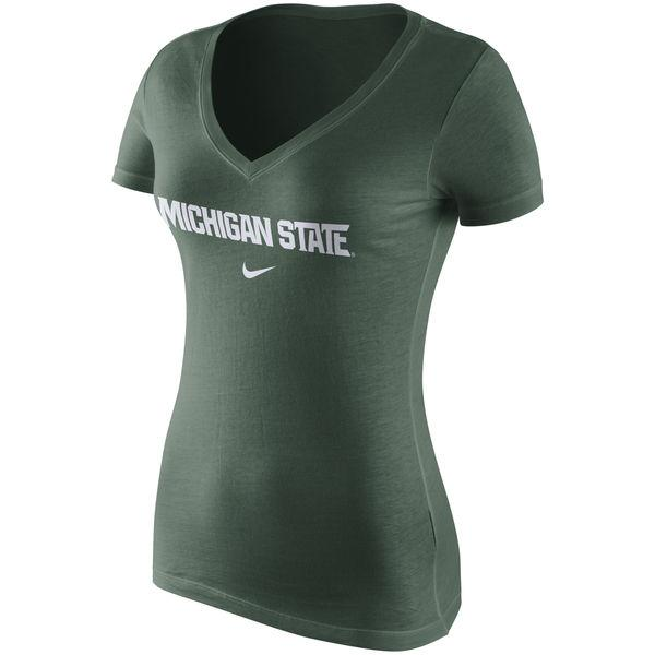 Nike Women's N-Neck Short Sleeve Tee - Green - shop.msu.edu